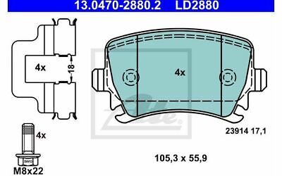 4x ATE Bremsbeläge hinten für VOLKSWAGEN TIGUAN GOLF SEAT LEON 13.0470-2880.2