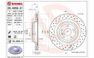 2x BREMBO Bremsscheiben hinten Gelocht/innenbel. 330mm 09.A959.21 - Mister Auto
