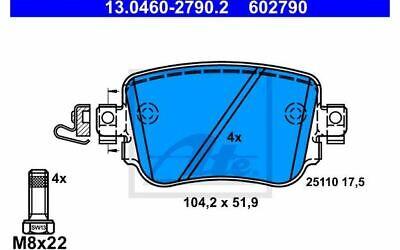 4x ATE Bremsbeläge hinten für AUDI A1 13.0460-2790.2 - Mister Auto Autoteile