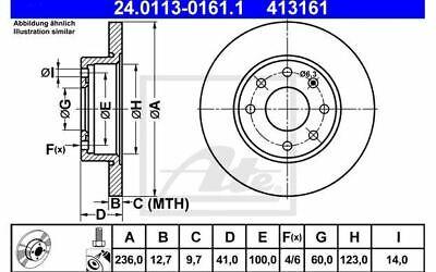 2x ATE Bremsscheiben vorne Voll 236mm für OPEL VECTRA ASTRA 24.0113-0161.1