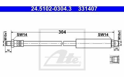 ATE Bremsschlauch für Ihr Auto 24.5102-0304.3 - Mister Auto Autoteile