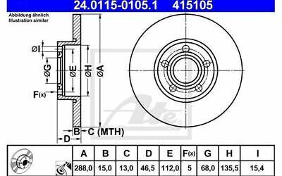 2x ATE Bremsscheiben vorne Voll 288mm für AUDI A4 A6 100 24.0115-0105.1