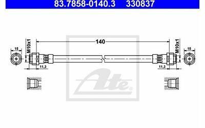 ATE Bremsschlauch für Ihr Auto hinten für VOLKSWAGEN GOLF POLO 83.7858-0140.3