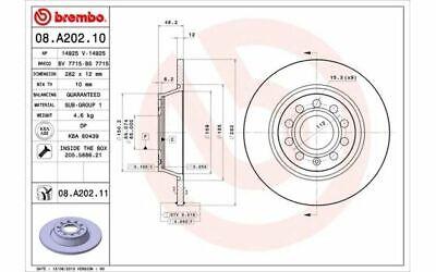 2x BREMBO Bremsscheiben hinten Voll 282 mm für VOLKSWAGEN TIGUAN EOS 08.A202.11