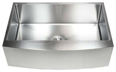 """33"""" Stainless Steel Farmhouse Single Bowl Kitchen Sink Curved Front Apron"""