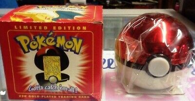 CHARIZARD-23k-Gold-Plated-TRADING-CARD-with-Poke-ball-and-Box-With-COA-LOOK!!!!