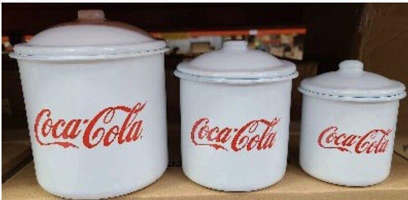 Coca-Cola 3 Piece Canister Set Cursive Script Enamel Kitchen Coke Licensede New