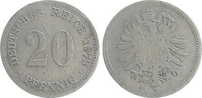 20 Pfennig 1873 H Kaiserreich Erhaltung schön Auflage 54.000 sehr selten