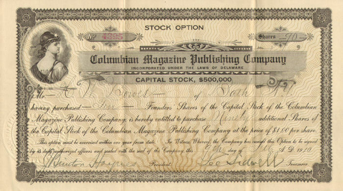 Columbian Magazine Publishing Company > 1910 old paper stock certificate share