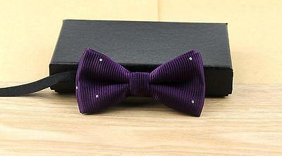 """Baby/Toddler Boy's Purple Diamond Bow Tie and 25"""" or 30-36"""" Black Suspenders"""