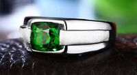 Classic Style Mens Emerald .925 Silver Ring, Size 10
