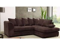 BRAND NEW DYLAN CHENILLE OR JUMBO FABRIC DOUBLE PADDED CORNER SOFA FOR SALE - 3+2 also available