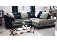 Fantastic 3+2 Seater Dylan Crushed Velvet sofa in Black and Silver Color!! ORDER NOW