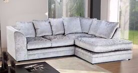 --NEW COLORS--- NEW DYLAN CRUSHED VELVET CORNER OR 3 AND 2 SEATER SOFA