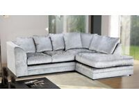 Zee CRUSHED VELVET FABRIC CORNER SOFA SUITES IN BLACK SILVER COLOR