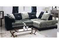 ORDER NOW CRUSH VELVET BRAND NEW DYLAN CORNER SOFA SAME DAY DELIVERY ALL OVER LONDON