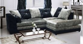 Extra footstool brand new silver mink black crush velvet dylan sofas available corner or 3 + 2