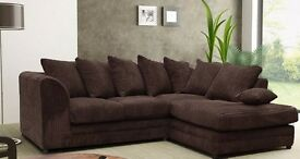 BRAND New Desmond Jumbo Cord Corner/3+2 seater Suite - SAME/NEXT DAY DELIVERY in 9 major colours