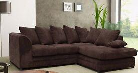 ►◄►◄Brand New Italian Extra Padded Dylan Jumbo Cord Corner Sofa or 3+2 Sofa in Black,Brown,Mink,Grey