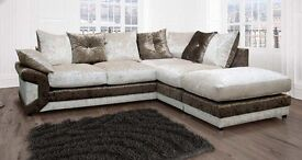 Vargas corner suite,colour brown and mink,complete with footstool,excellent condition 3 months old