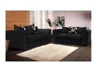 BRAND NEW 3+2 BLACK ZINA SOFA SET WITH FOAM FILLED CUSHIONS.. ONLY 269.99