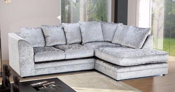🔥Superb Black & Silver Finish🔥 Italian Double Padded Dylan Crushed Velvet Corner Sofa Or 3+2 Sofa