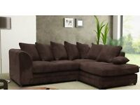 Jumbo Cord Corner Sofa In Grey or Brown, a Footstool or 2+3 Seater Multiple Colours available