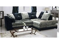 ***Special Offer***Dylan BLACK & SILVER Crushed Velvet Corner LH/RH Or 3+2 - More Color Available