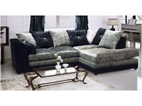 **Same Day Quick Delivery** Brand New Dylan Crushed Velvet Corner or 3 and 2 Seater Sofa