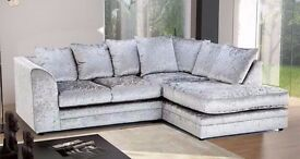 【BRAND NEW】DYLAN SOFAS - CORNER AND 3+2 SOFA SUITE *SILVER & BLACK COLOR CRUSHED VELVET FABRIC