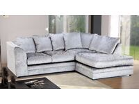 SUPERB OFFER: NEW DYLAN CRUSHED VELVET CORNER SOFA IN SILVER -- ALSO AVAILABLE IN JUMBO CORD --