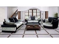🔴🔵Half Price Sofas🔴🔵 DOUBLE PADDED DINO CRUSHED VELVET CORNER SOFA OR 3 AND 2 SOFA