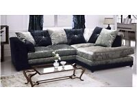 ❤-Superb Quality Guaranteed-❤ New Italian Crushed Velvet Extra Padded Dylan Corner Sofa Or 3+2 Sofa