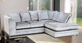 AMAZING OFFER !! DOUBLE PADDED CRUSHED VELVET DYLAN CORNER SOFA IN SILVER AND BLACK.