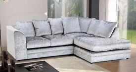 💚💚💚BRAND NEW 💚💚💚DYLAN CORNER AND 3+2 SEATER SOFA SUITE -SILVER & BLACK CRUSHED VELVET FABRIC