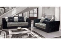 ❤Best Selling Brand; Comfy Sofa❤ Brand New Crushed Velvet Extra Padded Dylan Corner Sofa / 3+2 Sofa