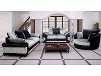 💥🔥💥Superb Black/Silver FInish💥💥 NEW DOUBLE PADDED DINO CRUSHED VELVET 3 + 2 SOFA OR CORNER SOFA