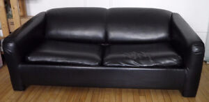 Sofa Bed in Black Leather