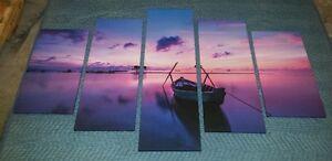 Purple Sunset 5 Panel Picture Set