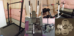 Squat Rack +Chinup, Bench Press, Weights &more - sold separately