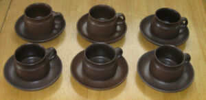 Vintage set of 6 Denby stoneware cups and saucers