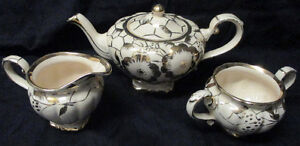 Vintage Quality Arthurwood Teapot set milk white w- gold overlay