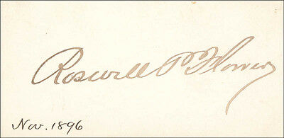 Flower Calling Card - ROSWELL P. FLOWER - CALLING CARD SIGNED CIRCA 1896