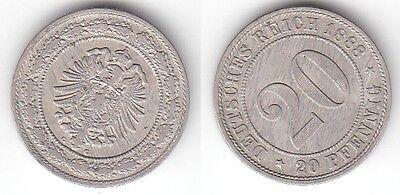 20 Pfennig Nickel Münze Kaiserreich 1888 G, Jäger 9  (115218)