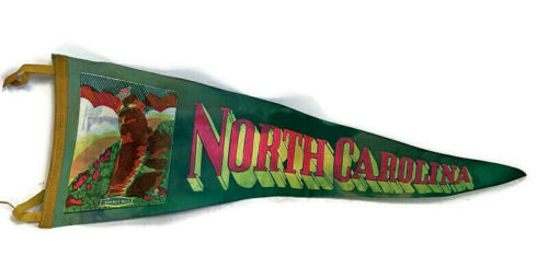 "1950s 1960s FELT PENNANT NORTH CAROLINA  26"" X 8.5"""