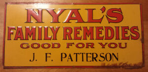 J F Patterson Pharmacy Nyals Tin Sign for Bottle Collectors Almo
