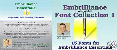 Embrilliance Essentials & Font Collection 1 Combo Embroidery Software Win&Mac Embroidery Fonts Software