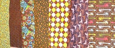 Joann Springs 1 2 Yard Horses Guitars Flowers   More On Brown Flannel