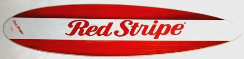 Red Stripe Beer Surfboard - Wood Grain Design - Malibu Style Surfboard