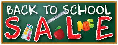 Back To School Sale Banner Big Discount Savings Sign 18x48